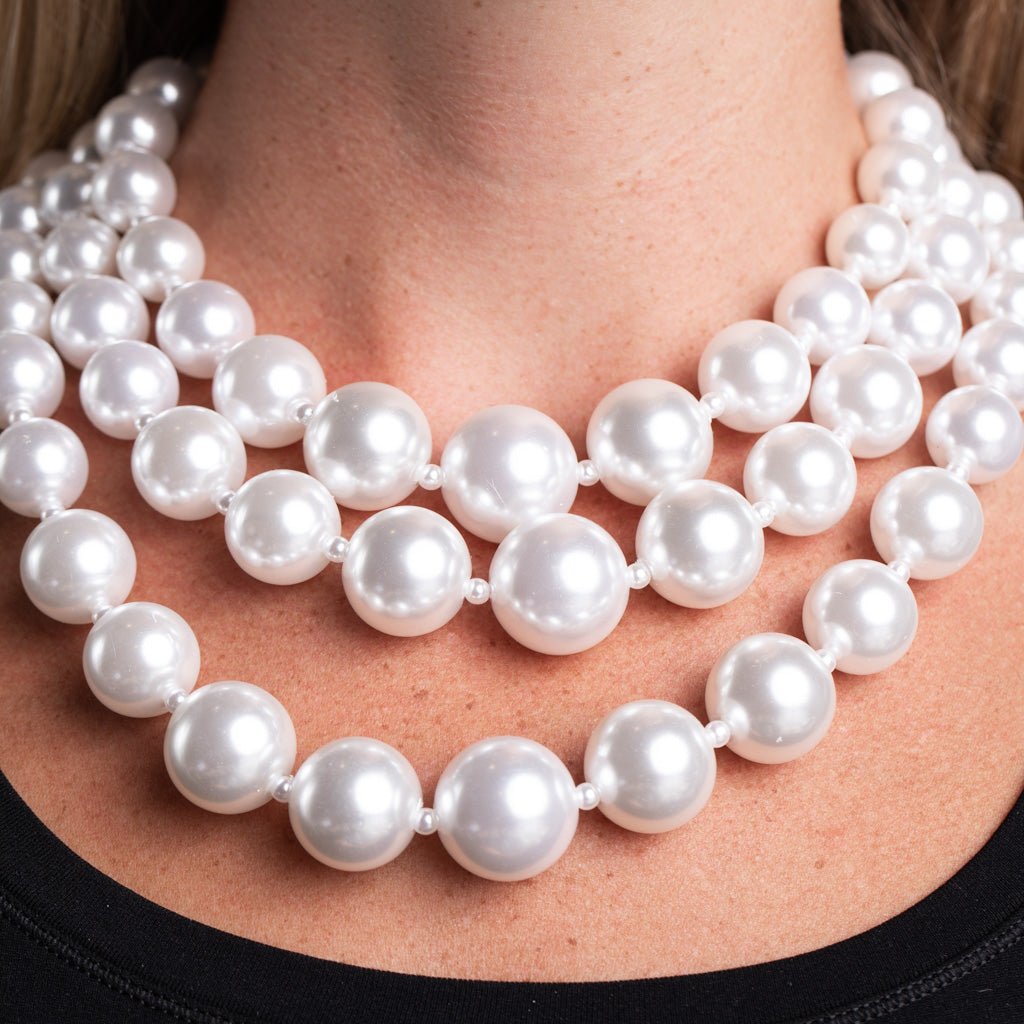 Three Row White Pearl Necklace