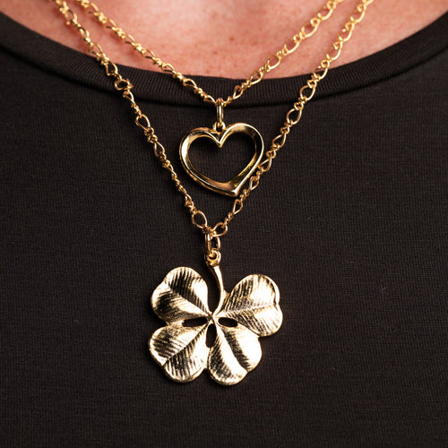 Heart and Clover Double Chain Pendant Necklace
