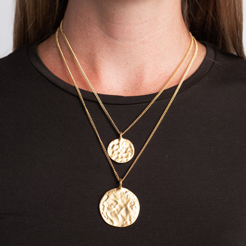 Double Chain Coin Pendants Necklace