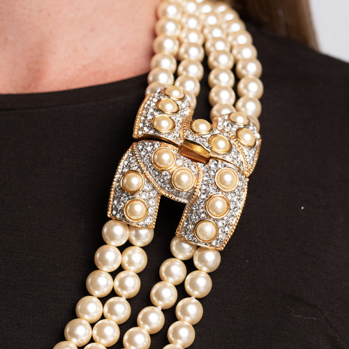 4 Row Pearl Necklace with Gold, Crystal and Pearl Clasp