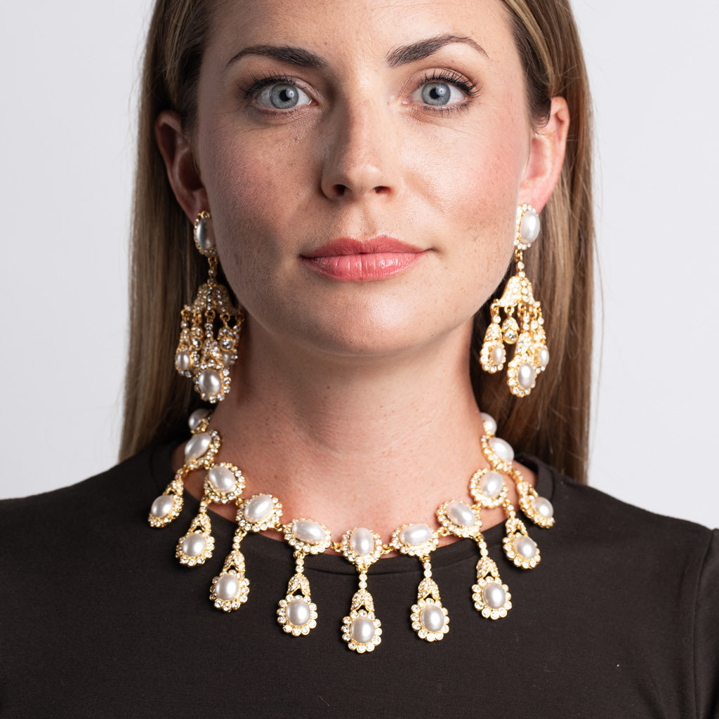 Gold Chandelier and White Pearl Clip Earrings