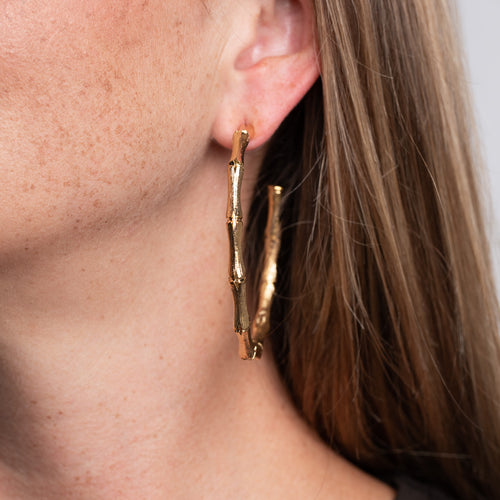 Large Gold Bamboo Hoop Pierced Earrings
