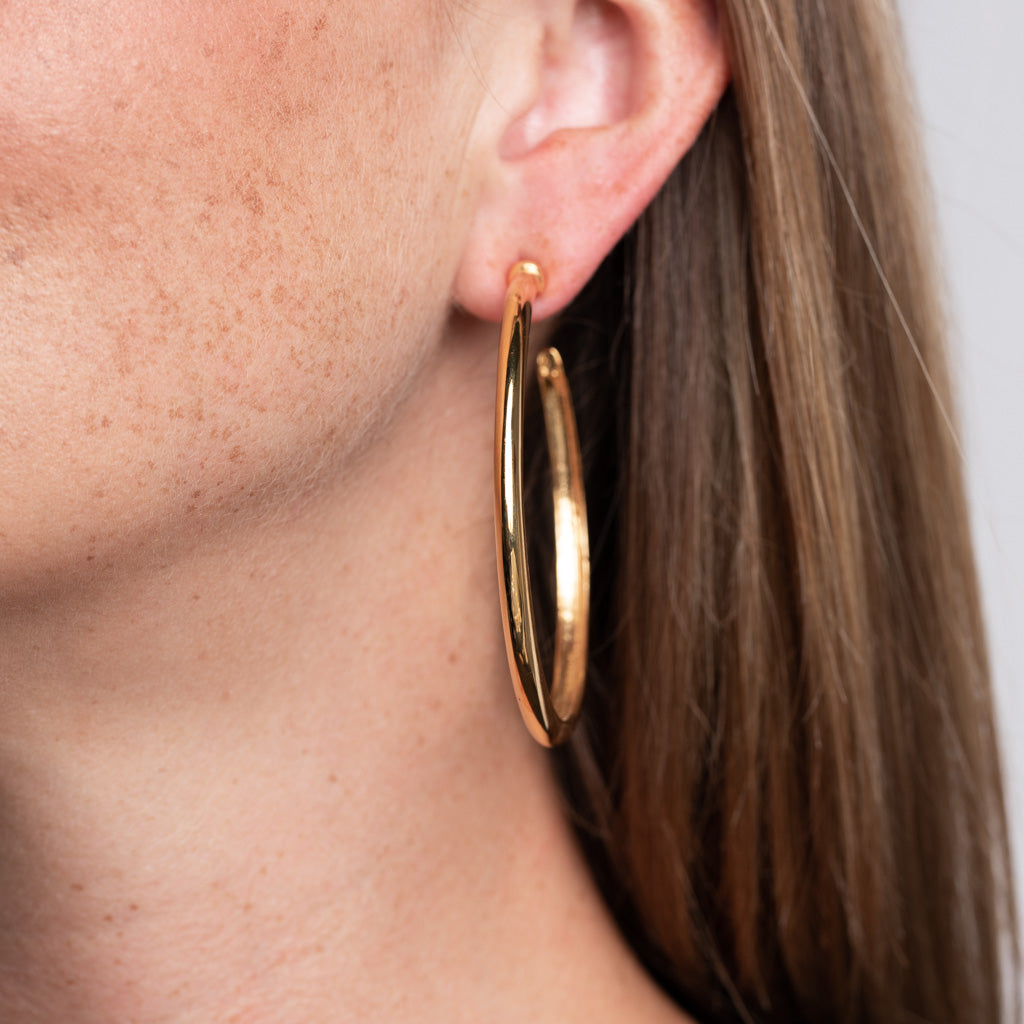 Polished Gold Hoop Pierced Earrings