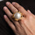 Satin Gold Ring with White Pearl Center