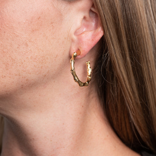 Small Gold Bamboo Hoop Pierced Earrings