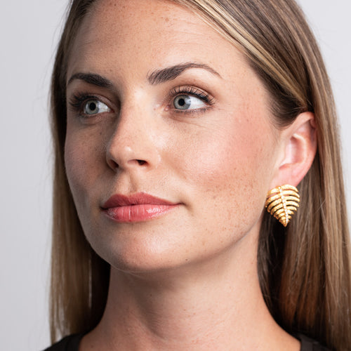Gold and Crystal Stem Leaf Pierced Earrings