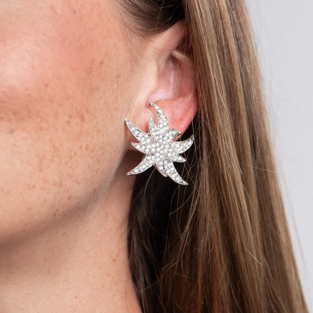 Rhinestone Double Star Clip Earrings