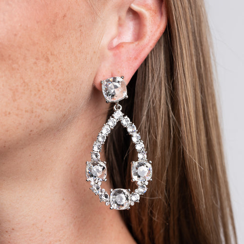 Crystal Squares and Open Teardrop Pierced Earrings