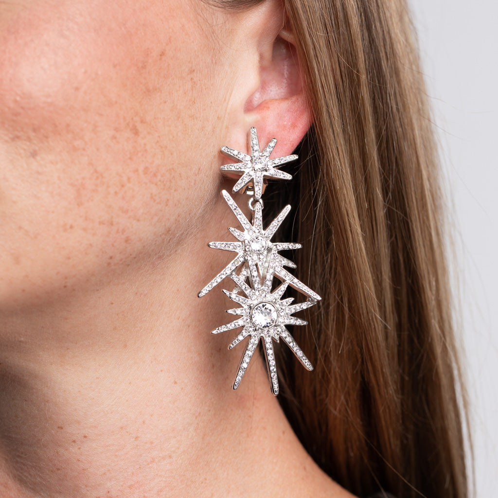 Three Starburst Clip Earrings