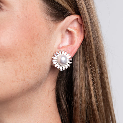 Pearl Ball Sunburst Clip Earrings