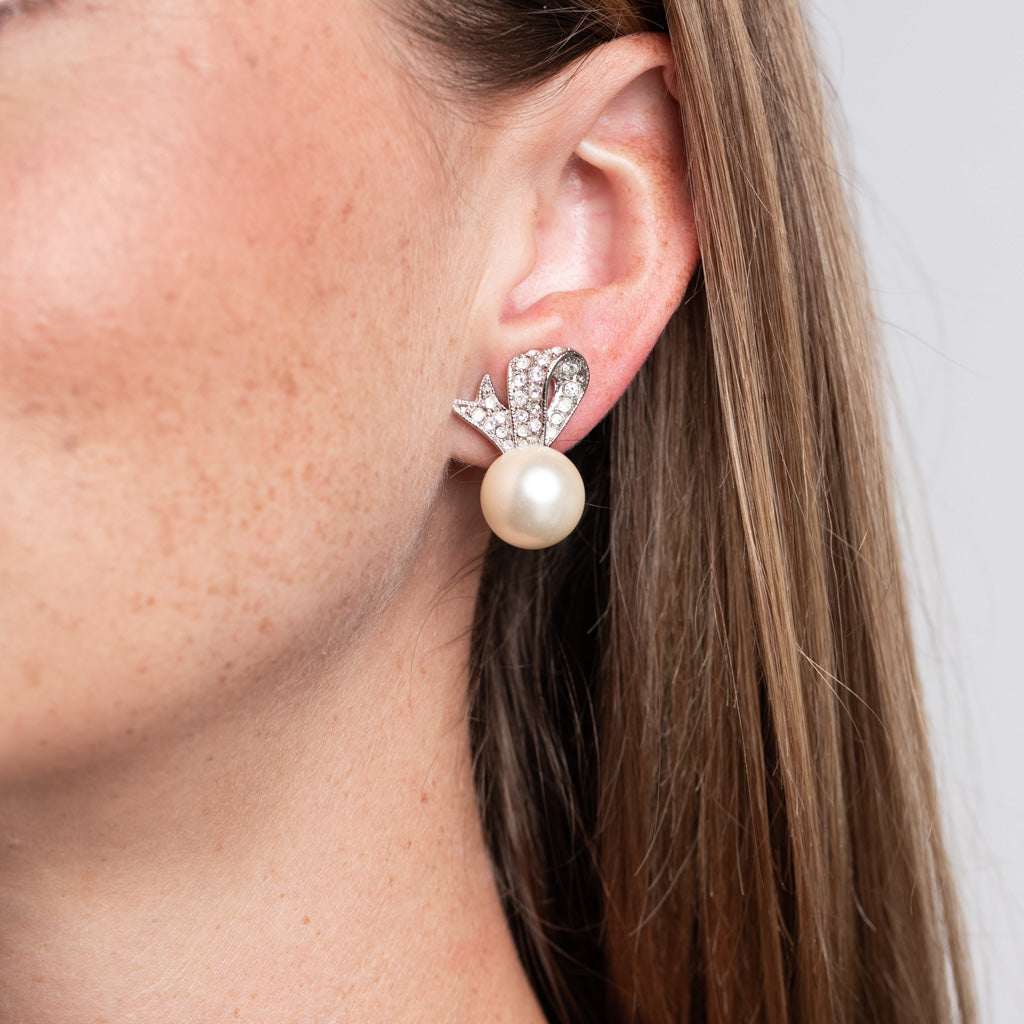 Bow and Pearl Ball Clip Earrings