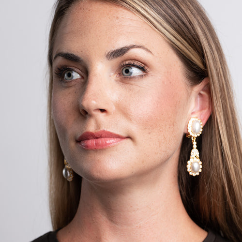 Cultura Pearl and Cabochon Clip Earrings