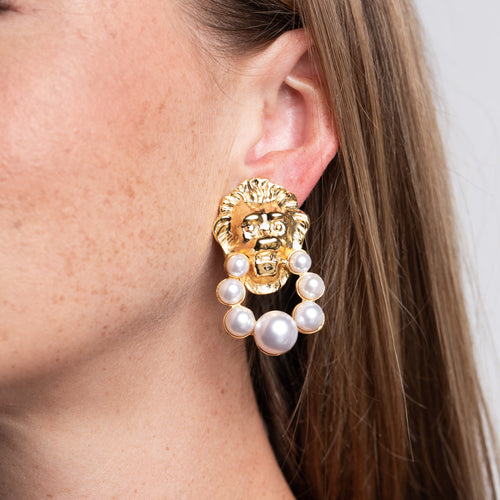 Lion Head and Pearl Doorknocker Clip Earrings