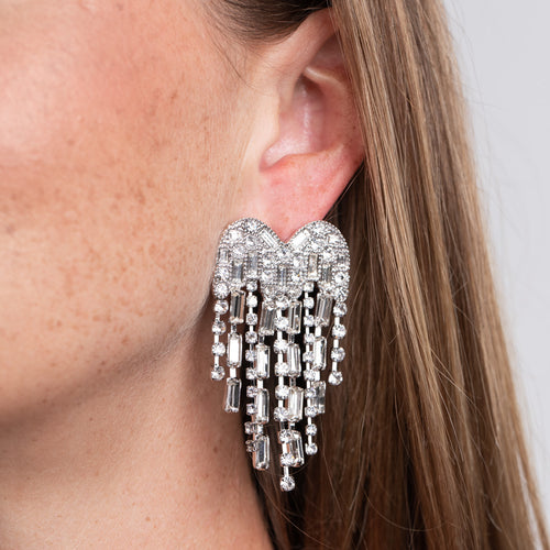 Rhinestone Heart with Waterfall Drop Pierced Earrings