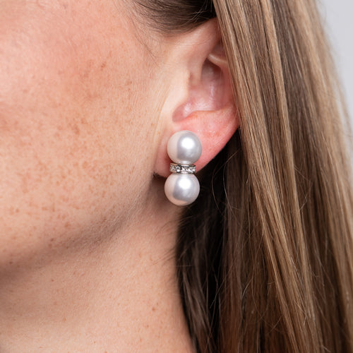 Double Pearl Ball Clip Earrings