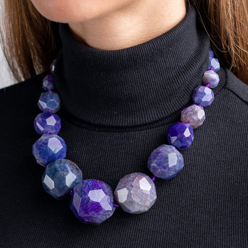 Purple Faceted Agate Necklace