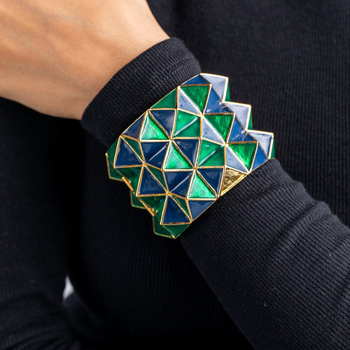 Green and Blue Enamel 3 Row Geometric Shape Bangle