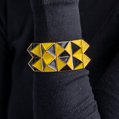 Black and Yellow Enamel Pyramid Bracelet