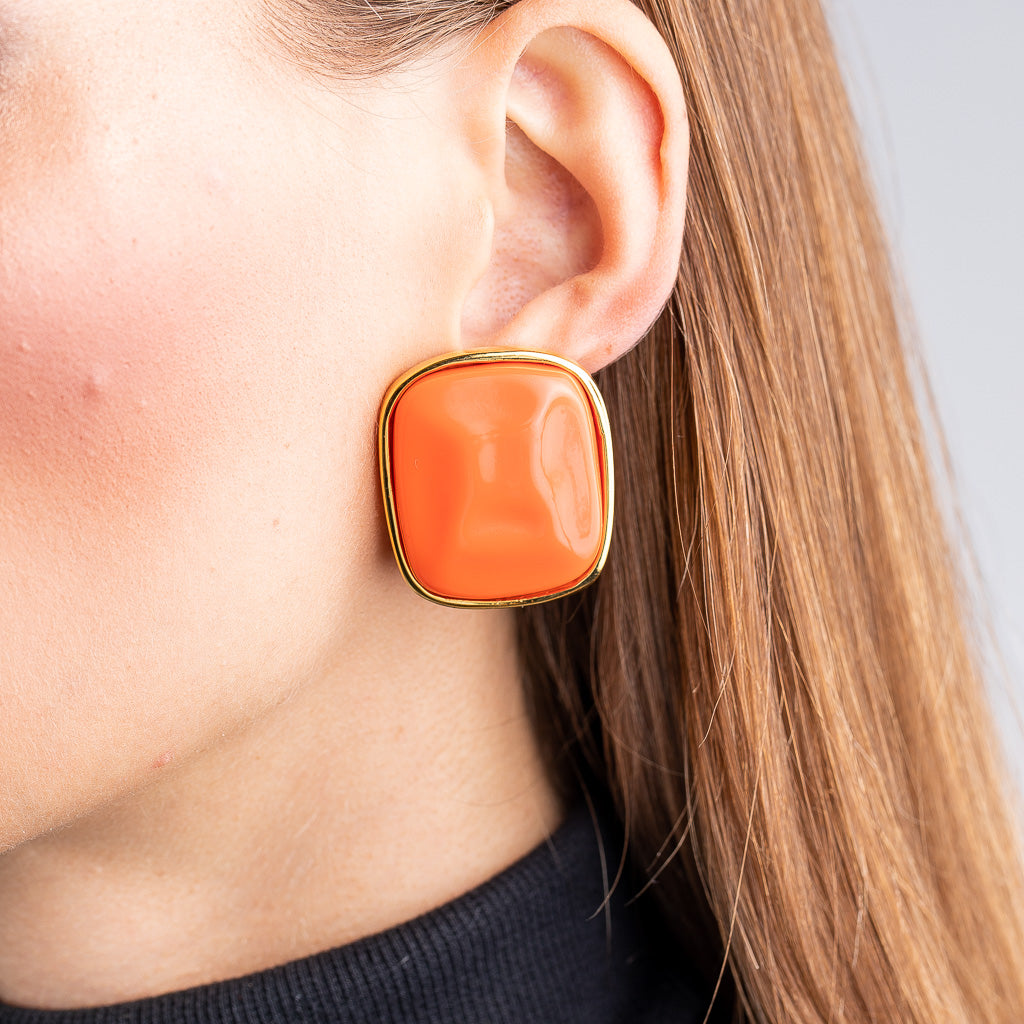 Coral Nugget Clip Earrings