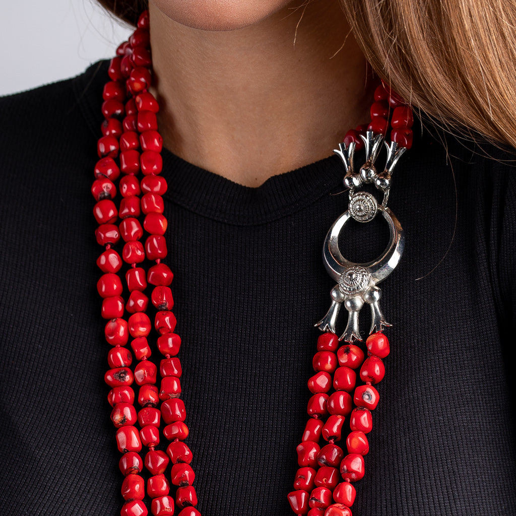Vintage Red Beads with Silver Clasp