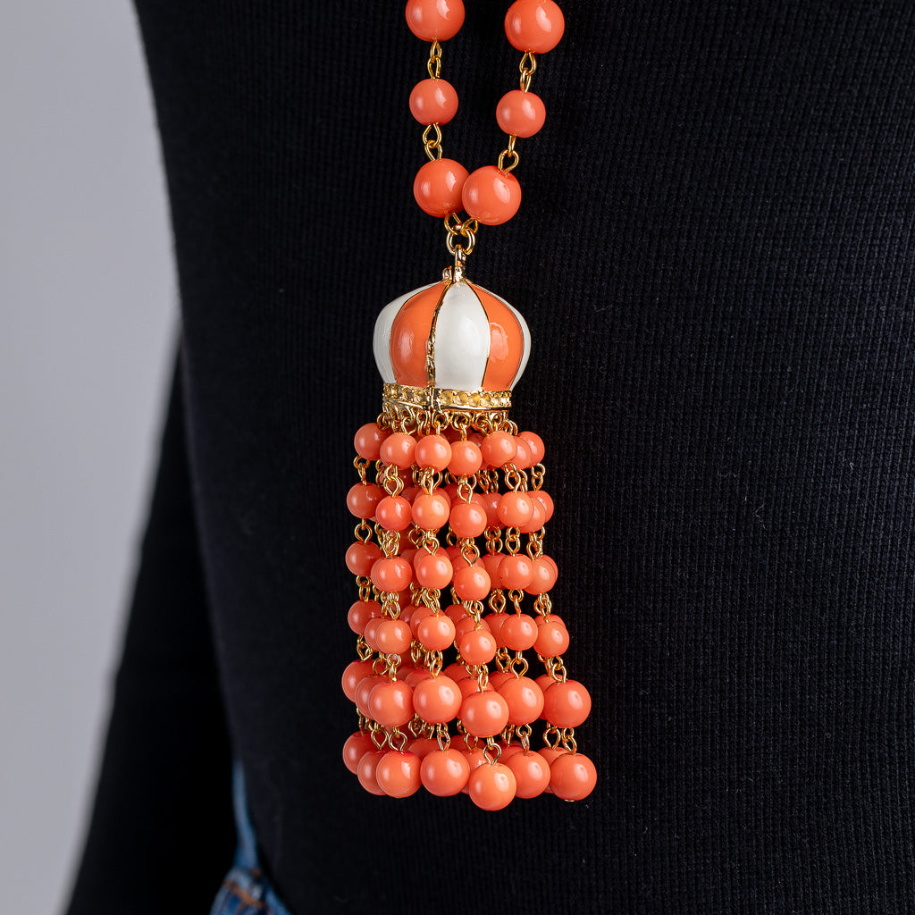 Coral Bead Tassel Necklace