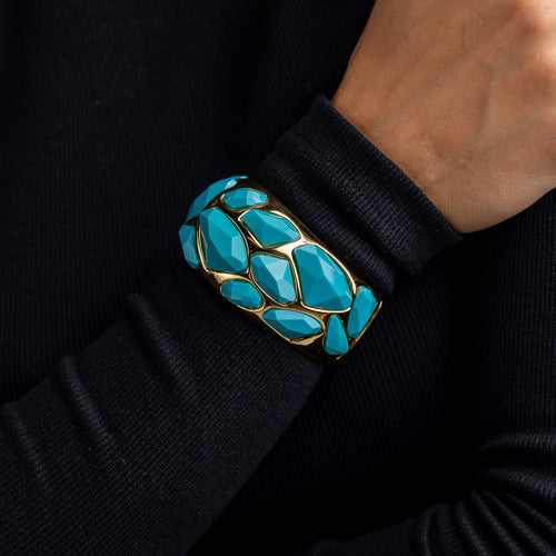 Turquoise Faceted Stones Cuff