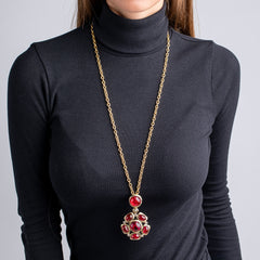 Satin Gold and Crystal Flawed Ruby Cabochon Pendant Necklace
