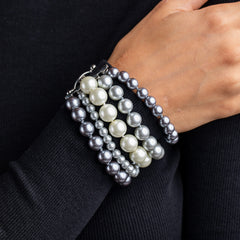 5 Row Grey Pearl Toggle Bracelet