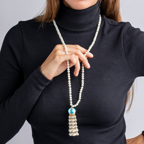 White Pearl and Turquoise Tassel Necklace