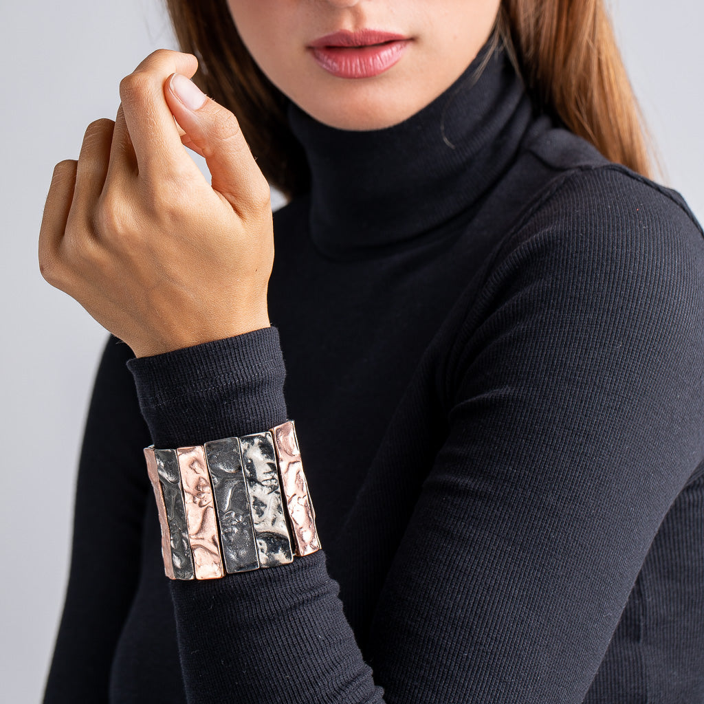 Textured Tritone Bars Stretch Bracelet