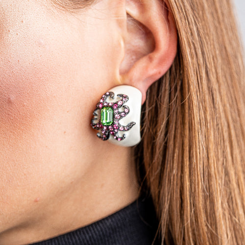 White Enamel Octopus Clip Earrings