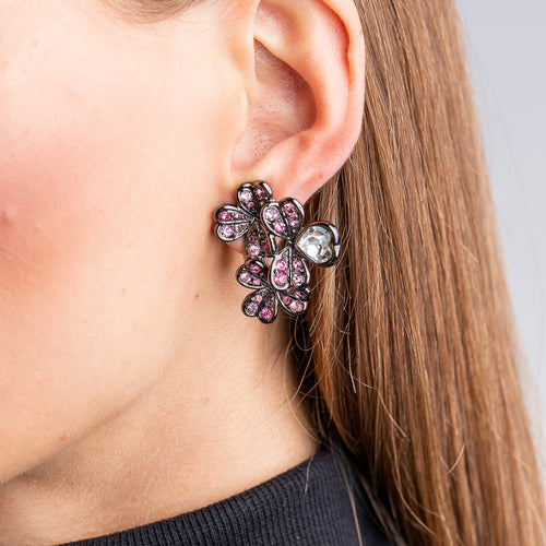 Multi Pink Crystal Heart and Leaf Clover Clip Earrings