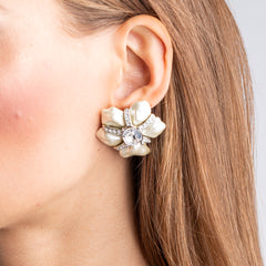 Vintage White Pearl with Crystal Flower Clip Earrings