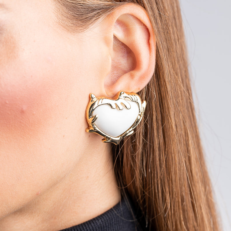 Polished Gold White Heart Clip Earrings