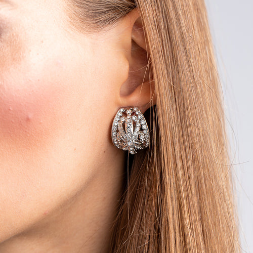 Vintage Silver with Crystal Domed Clip Earrings