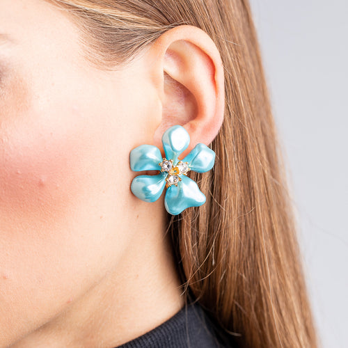 Blue Pearl Flower Clip Earrings