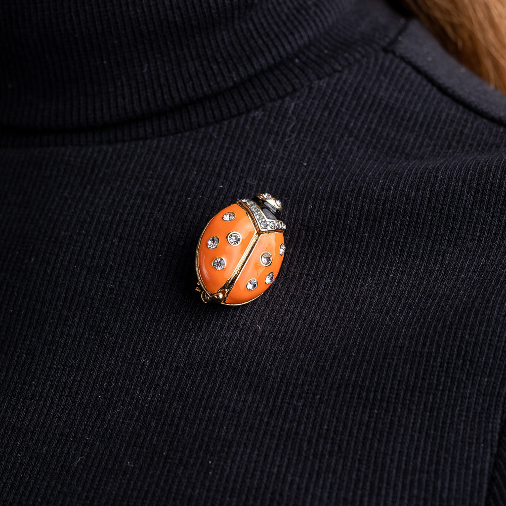 Coral Enamel Ladybug Pin with Crystal Dots