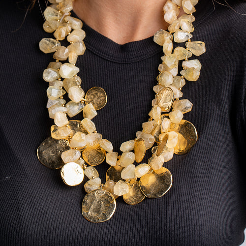 Vintage Citrine Beads with Gold Coins Necklace