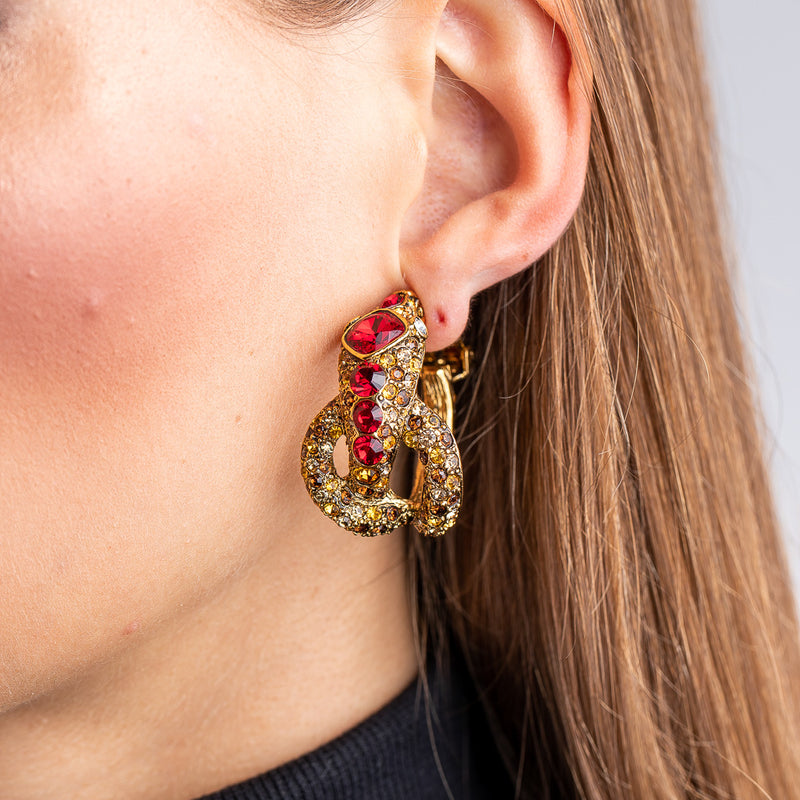 Antique Gold, Ruby and Topaz Snake Hoop Clip Earrings