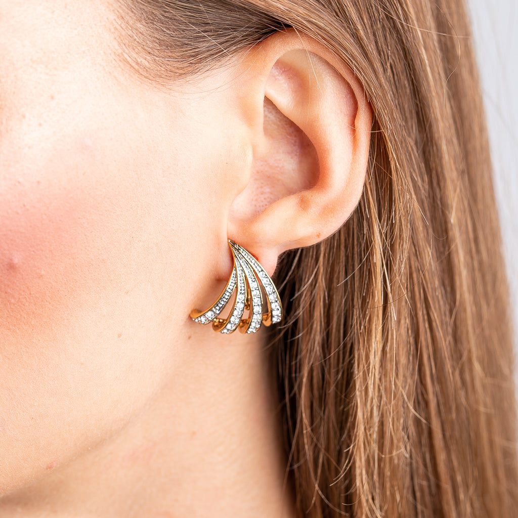 Vintage Gold with Crystal Pierced Earrings