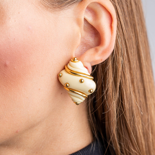 Ivory Shell Clip Earrings