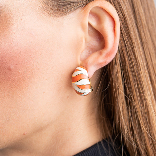 Coral and White Tiger Print Half Hoop Clip Earrings