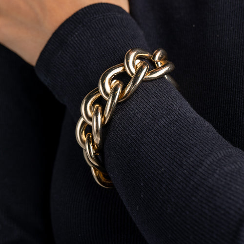 Polished Gold Link Toggle Bracelet