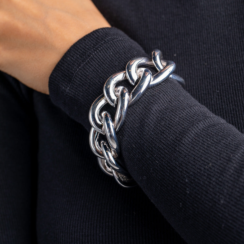 Polished Rhodium Link Toggle Bracelet