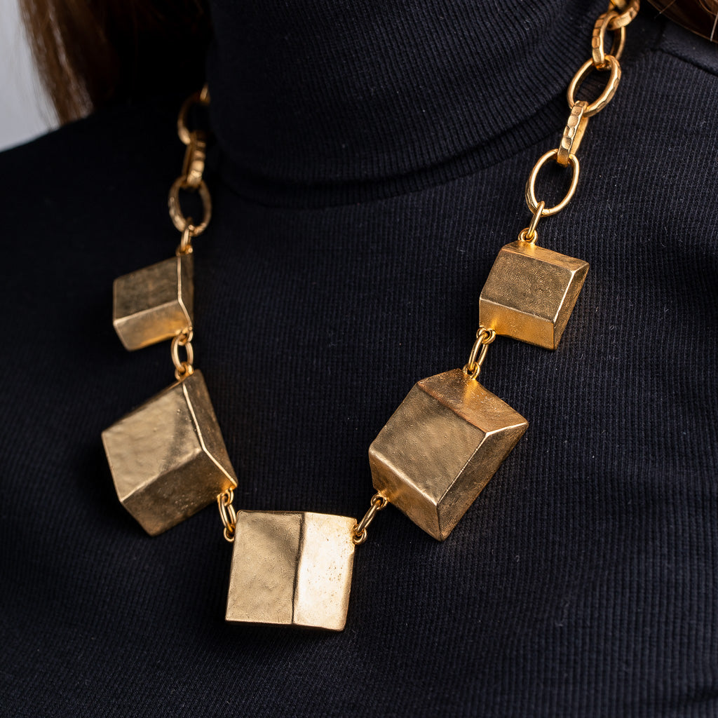 Satin Gold 3D Square Stations Necklace