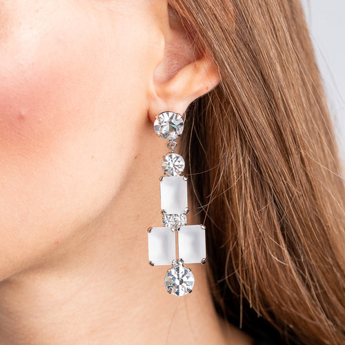 Vintage Silver with Crystal Pierced Earrings