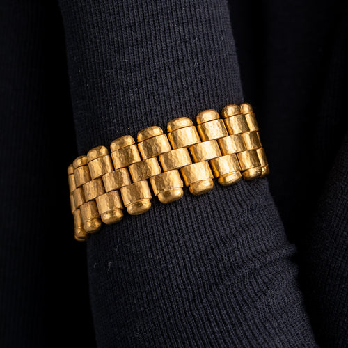 3 Row Small Satin Gold Bracelet