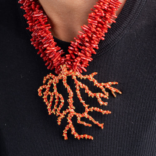 Vintage Red Coral Necklace with Gold Clasp