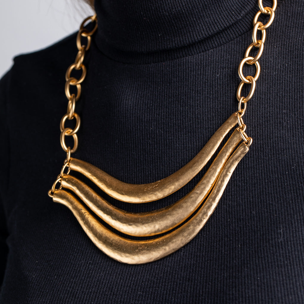 3 Row Satin Gold Chain Bib Necklace