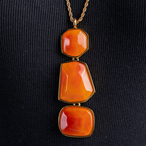Amber Multi Shape Pendant Necklace